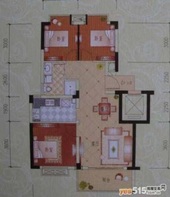 桂花城(江东阳光名城二期) 89平方 3室 商品房 毛坯 南北通透  平层
