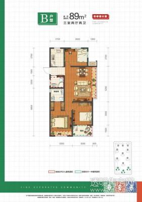 中国铁建保利像素 89平方 3室 商品房 精装 南北通透 普通住宅 平层