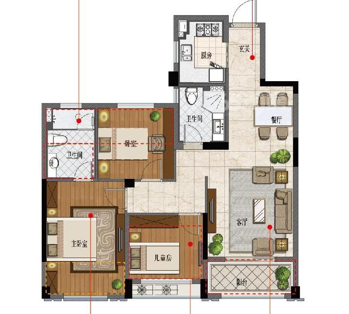 ·江东府 3室2厅2卫 105㎡