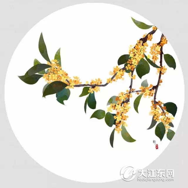 桂花手绘背景图