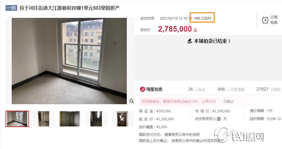 单价31945元/㎡,大江源著一法拍房成交